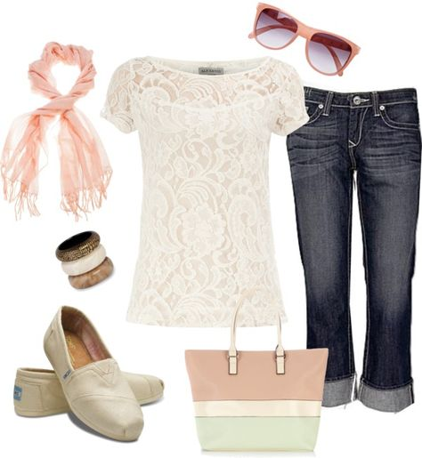 Obsessed with white lace, crop jeans, and TOMS! This outfit is me in a nutshell.