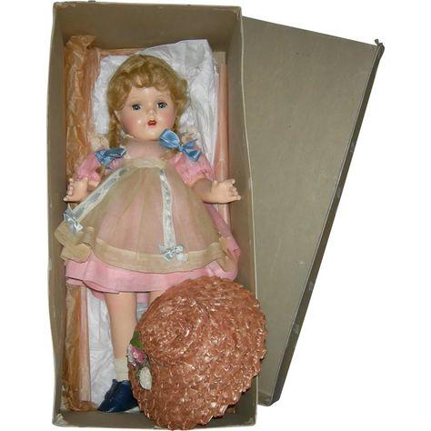 McGUFFEY ANA - w/ BOX - Madame Alexander -1937 - Composition - 16' - All Original w/ Dress Label & Box Label of Madame Alexander -- found at www.rubylane.com #thedollworldshome #dolls #madamealexander