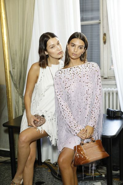 Emily Ratajkowski and Bella Hadid are seen backstage ahead of the Bottega Veneta show during Milan Fashion Week Spring/Summer 2018.