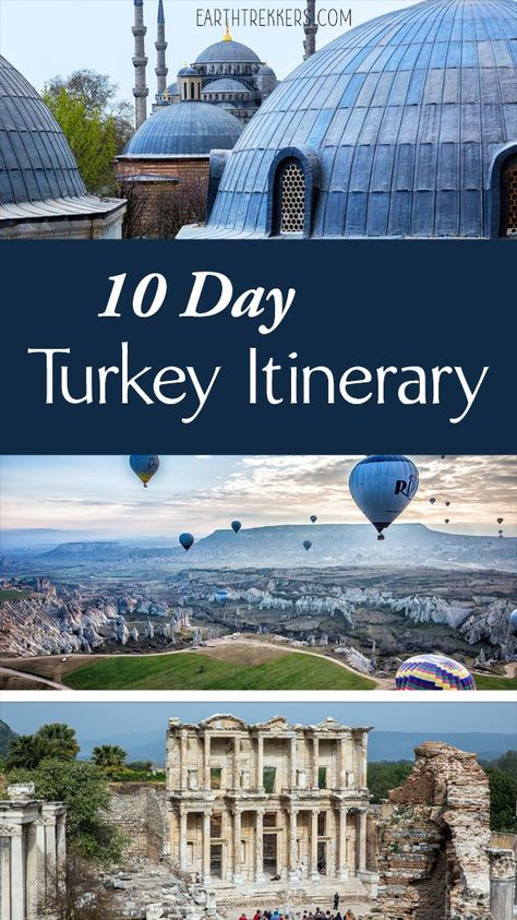 10 Day Turkey Itinerary: Istanbul, Cappadocia, and Ephesus. In this 10 day itinerary, spend 4 days touring the highlights of Istanbul (Hagia Sophia, Grand Bazaar, Topkapi Palace, Bosphorus River), 3 days in Cappadocia, and a day exploring the ancient sites in Selcuk. Turkey | Travel Itinerary | Istanbul | Cappadocia | Ephesus