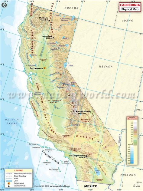 Physical Map of California USA Maps Pinterest California usa