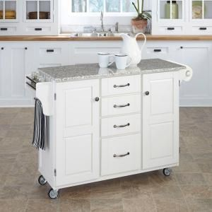 Create A Cart Kitchen Cart In White With Salt And Pepper Granite Top Gives You Extra Storage Utility A White Kitchen Cart Kitchen Cart Portable Kitchen Island