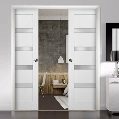 Sartodoors Quadro Glass Sliding Closet Doors With Installation Hardware Kit Wayfair In 2020 Closet Doors Diy Closet Doors Sliding Closet Doors