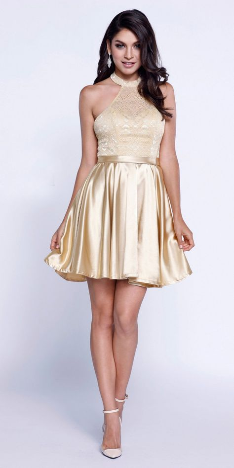 7f91c0b9328 Short Lace Satin Halter Prom Dress Gold A Line Flare – DiscountDressShop