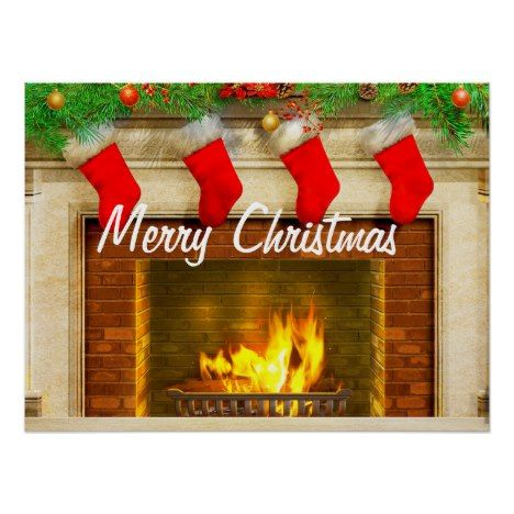 Christmas Stockings And Fireplace Poster Print Zazzle Com