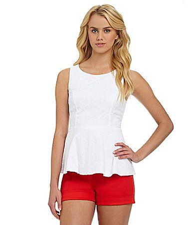 Kensie eyelet peplum top + cuffed twill shorts