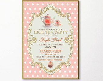 Tea Party Invitation High Tea Bridal Shower Tea Digital Email Printable DIY Gold Peach Cupcake Teapot Kitchen Tea Birthday Luncheon Brunch