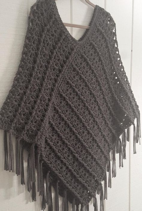 Crochet PATTERN Poncho with Fringe Quick Cable Poncho | Etsy