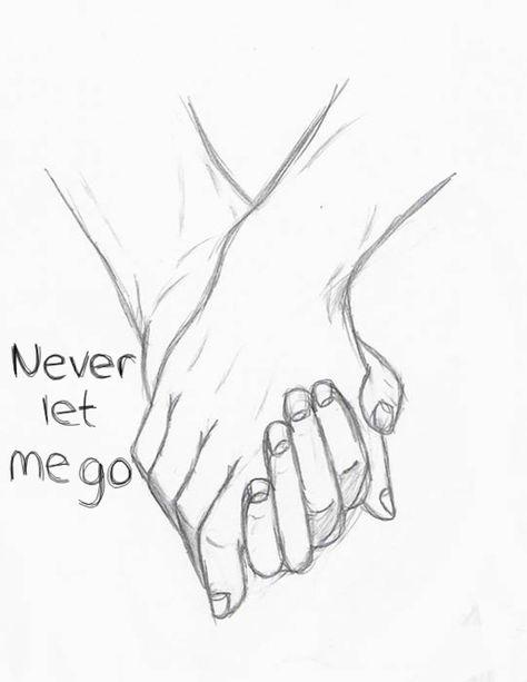 Hello Stalker :) (never let me go,forever,holding hands,couple,love,drawing,sketch,art)