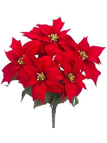 Artificial Red Velvet Poinsettias Holly Sprays And Faux Holiday Greenery Silk Wint Artificial Flowers Decor Artificial Flowers Artificial Flower Arrangements
