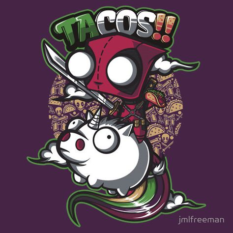 An Invader Zim and Deadpool mashup tee by