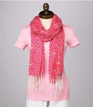 This is a photo of the Grand Scale pattern Murfee scarf, part of the first season for Murfees.  The hot pink looks great over the pale pink tee!
