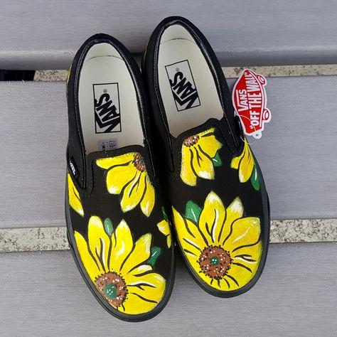 Custom Sunflower Vans Shoes Hand