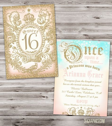 Sweet 16 Fairytale Invitation, once upon a time, gold glitter, gold, pink, princess invitation, sweet sixteen, $20 DIGITAL FILE AVAILABLE, jill@311graphics.com