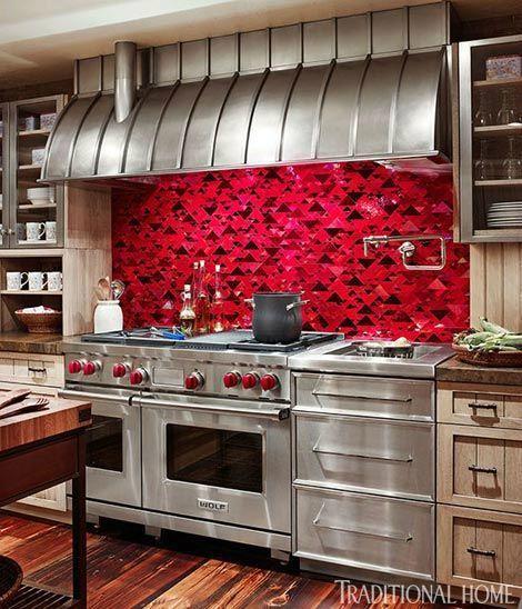 Red Kitchen Backsplash Idea Kitchen Colour Combination Red Backsplash Red Kitchen
