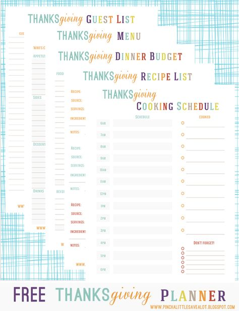 Pinch A Little Save-A-Lot: Free: Thanksgiving Planner
