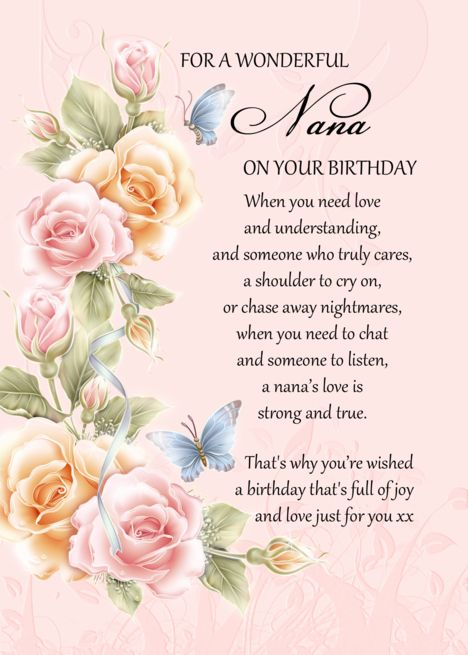 Nana Birthday Card With Poem Pink Grandma Birthday Card Ad Affiliate Card Birt Grandma Birthday Card Birthday Cards For Mother Happy Birthday Grandma