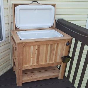 Special Black Bear Edition Rustic Cedar Chest Cooler Stand With Black Bear Bottle Opener Beer Cooler Deck Furniture Outdoor Furniture With Images Wood Crates