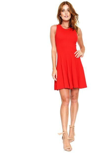 0771bd1eac27 Vestido Malwee Curto Evasê Vermelho | vestidos casuais | Vestidos ...