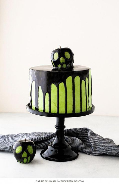 Poison Apple Cake - a black mirror glaze cake with an edible poison apple for Halloween | by Carrie Sellman for TheCakeBlog.com #halloweencakes
