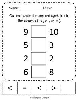 First Grade No Prep Math Symbols Greater Than Less Than Pack First Grade Greater Than Book Activities
