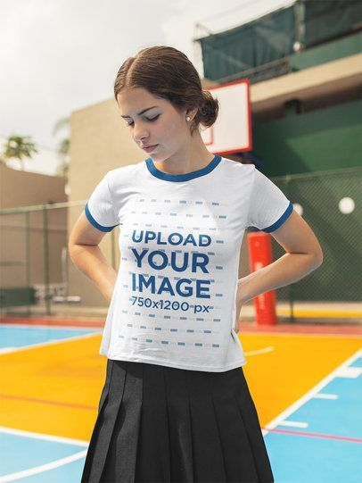 Download Placeit Beautiful Teenager Wearing A Ringer Tshirt Mockup While Looking Down Shirt Mockup How To Wear Tshirt Mockup