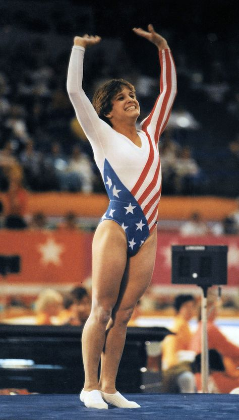 US gymnast Mary Lou Retton plants a perfect 10 after the vault competition at the 1984 Summer Olympics in Los Angeles.