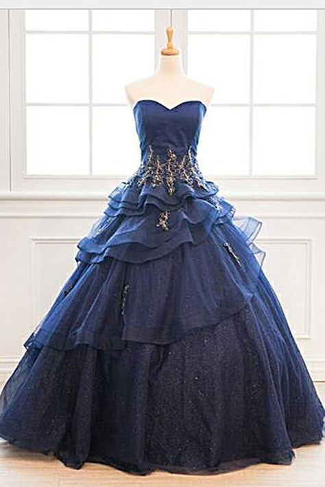 11158d3748e Custom Made Navy Blue Tulle Layered Long Satin Senior Prom Dress With  Applique