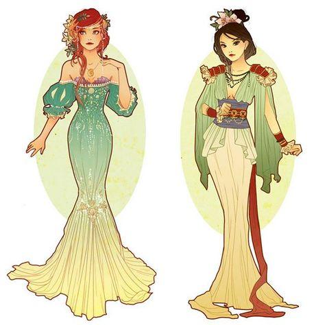 hannah_alexander_artwork: Here's another difficult VS! Do you prefer Ariel's mermaid inspired dress or the simple classic lines of Mulan? My vote is with Ariel! #ariel #mulan #thelittlemermaid #disneyart #disneyfanart #fanart #artnouveau #illustration #disney