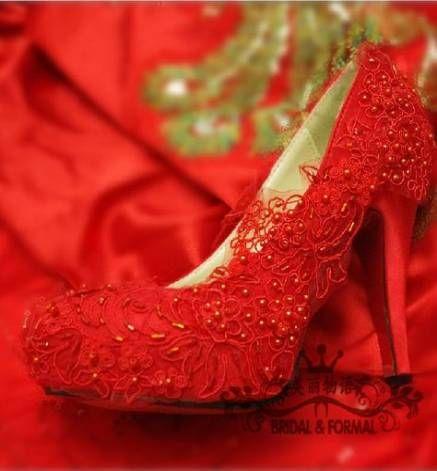 Best Wedding Shoes Red Colour Ideas