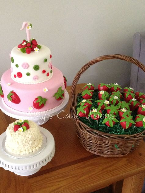 - Created for Gabriella& first birthday. The strawberries are made using modeling chocolate. The rest of the pieces are made using fondant and gumpaste. Also included are a Smash cake and a basket of cake pops shaped as strawberries.