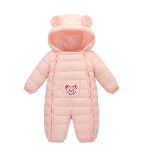 M/&A Unisex Baby Hooded Puffer Down Jacket Jumpsuit Winter Warm Romper Snowsuit