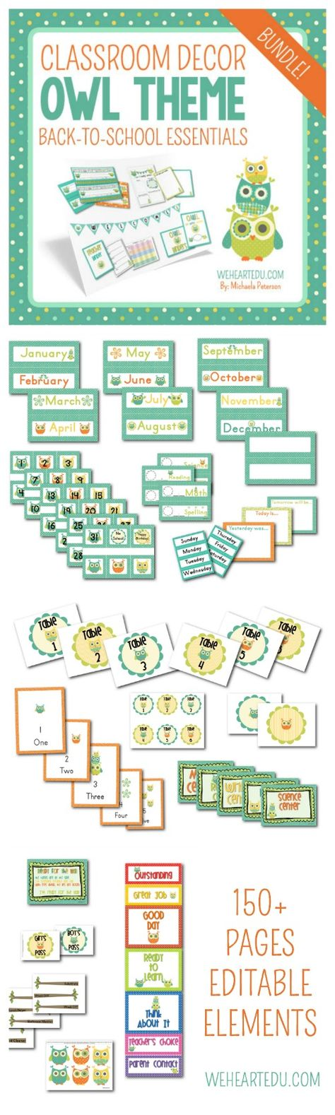 Owl Theme Classroom Mega Pack!  Full of Back-to-School Essentials like Owl Nametags, Behavior Chart, Job Chart, Calendar Pack and much more!  Includes editable elements.