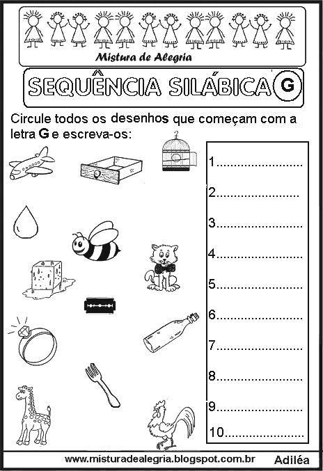 Sequencia Silabica Letra G Imprimir Colorir Jpg 464 677