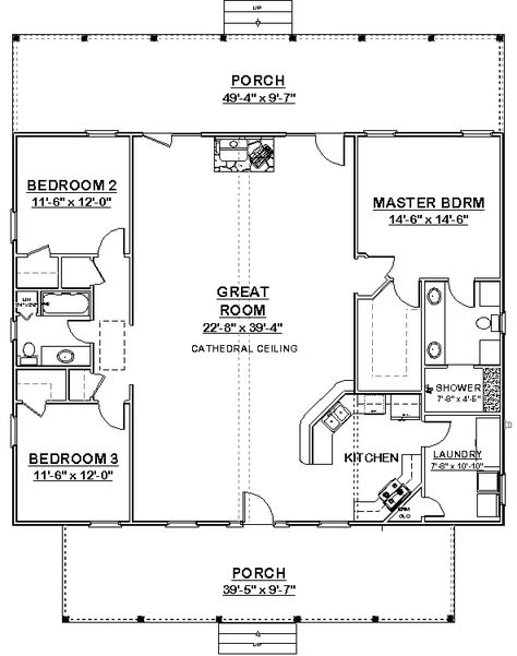 square house plans 40x40 | The Makayla plan has 3 bedrooms and 2 baths in a split-plan format ...