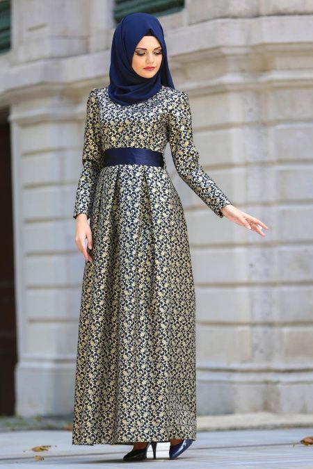 Tesetturlu Abiye Elbise Jakarli Lacivert Tesettur Abiye Elbise 24415l Tesetturisland Com Elbise The Dress Kadin Giyim