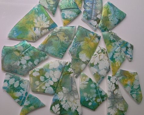 """""""Letting Nature do the painting"""" - botanical prints on polymer clay 