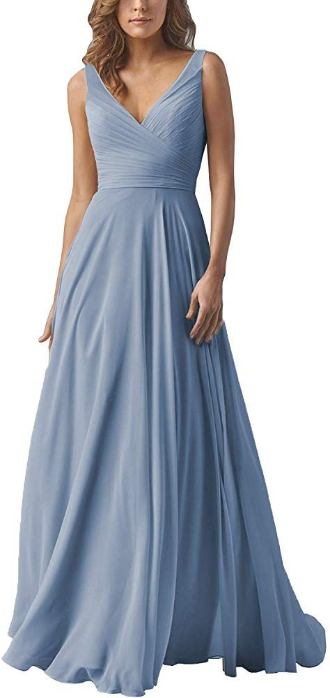 Yilis Elegant V-Neck Chiffon Slit Long Bridesmaid Dress Wedding Evening Dress