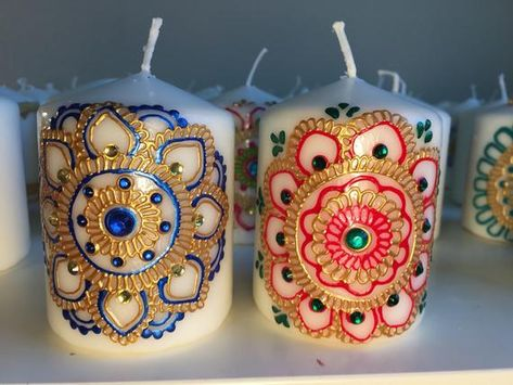 Henna Candles  Candle Set  Holiday Gift  Decorated Candles