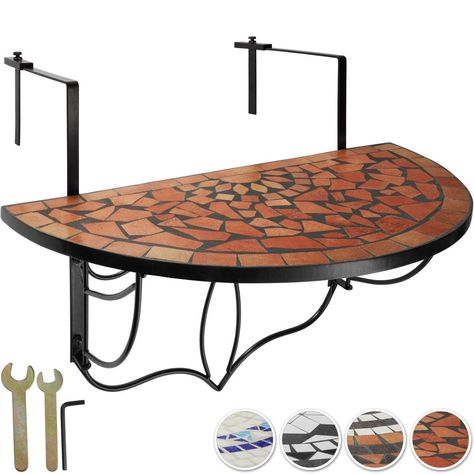 Table de balcon mosaïque pliante Rabattable Table suspendue Table ...
