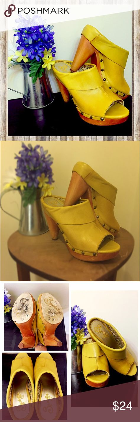 627eaa6ec754 Seychelles Peep Toe Wooden Mules Wooden peep toes mules in beautiful yellow  fold over leather.