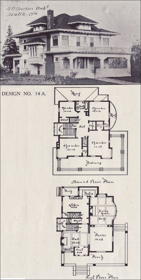 Design No. 14A  1908 Western Home Builder — V. W. Voorhees of Seattle