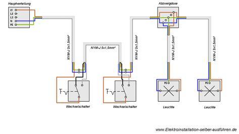 Spectacular Schaltplan einer Wechselschaltung mit zwei Lampen Elektrische Schaltungen f r die Hausinstallation Pinterest