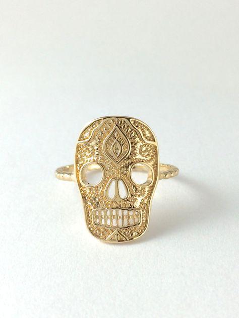 Sugar Skull Ring, Skeleton,14 Karat Gold filled ring,Mexican Skull,gold vermeil,Statement Ring, gold filled ring,Totenkopf ring on Etsy, $54.41