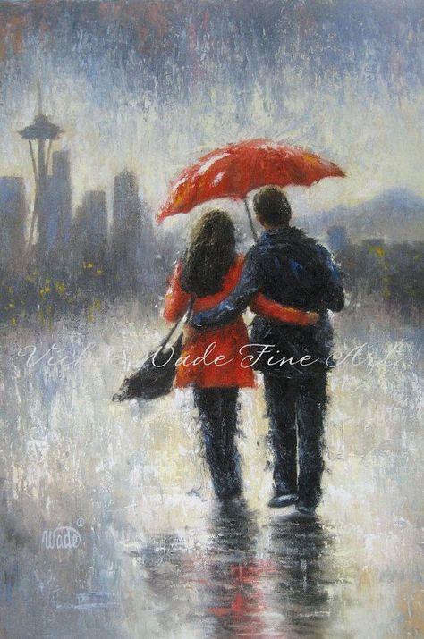 Seattle Lovers in the Rain Art Print, Seattle rain, love, rain, couple, romance, red umbrella, space needle, home decor, Vickie Wade art
