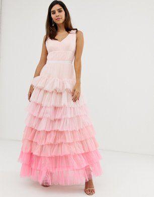 Naf Naf romantic layered dress with long sleeves