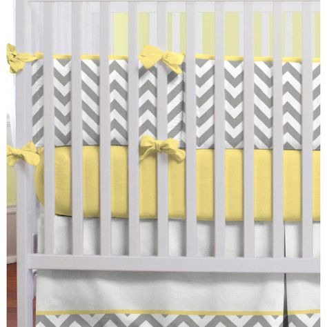 Gray and yellow zig zag crib bedding from carousel designs