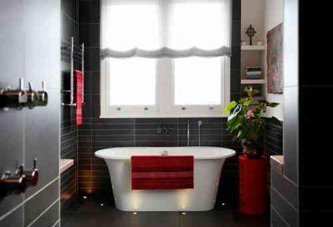 salle de bain romantique en rouge et gris | salle de bain ...