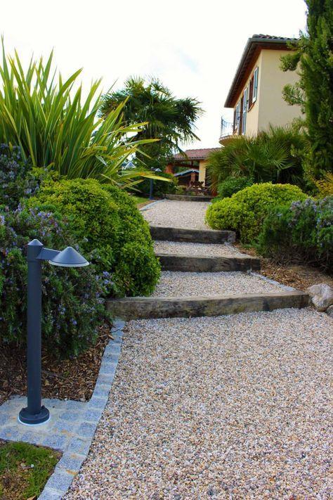 Allees Constans Paysage Allee En Dalle Stabilisatrice De Gravier Nidagravel Bordure Paves Granit Entree Cour J Jardins Jardin Moderne Escalier De Jardin