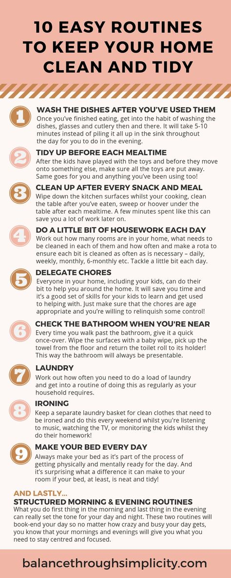 Keeping your home clean and tidy doesn't have to be complicated or use up your precious time and energy. Check out this post for 10 simple household routines to save you time and find out how to keep your home clean, the easy way. #parenting #clean #cleaning
